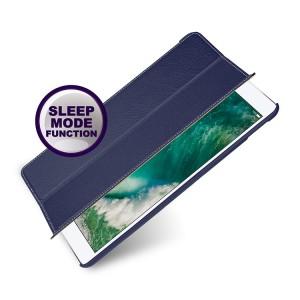 Кожаный смарт чехол книжка подставка (премиум нат. кожа) для Ipad Pro 10.5 Синий