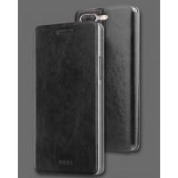 Глянцевый водоотталкивающий чехол горизонтальная книжка подставка на силиконовой основе для OnePlus 5 Черный