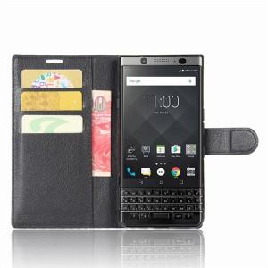 Чехол портмоне подставка на силиконовой основе на магнитной защелке для BlackBerry KEYone  Черный