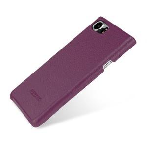 Кожаный чехол накладка (премиум нат. кожа) для BlackBerry KEYone  Фиолетовый