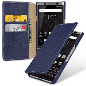 Кожаный чехол портмоне (премиум нат. кожа) для BlackBerry KEYone  Синий