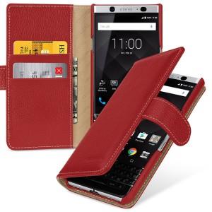 Кожаный чехол портмоне (премиум нат. кожа) с крепежной застежкой для BlackBerry KEYone