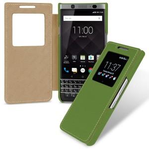 Кожаный чехол горизонтальная книжка (премиум нат. кожа) с окном вызова для BlackBerry KEYone