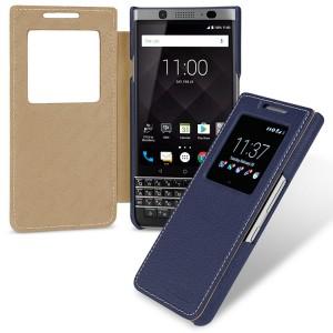 Кожаный чехол горизонтальная книжка (премиум нат. кожа) с окном вызова для BlackBerry KEYone  Синий