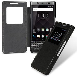 Кожаный чехол горизонтальная книжка (премиум нат. кожа) с окном вызова для BlackBerry KEYone  Черный