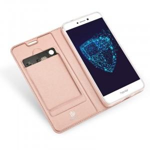 Кожаный чехол портмоне подставка на силиконовой основе с отсеком для карт для Huawei Honor 8 Lite