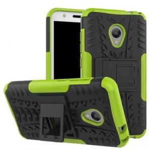 Двухкомпонентный силиконовый матовый непрозрачный чехол с нескользящими гранями, поликарбонатными бампером и крышкой и встроенной ножкой-подставкой для Alcatel U5 Зеленый