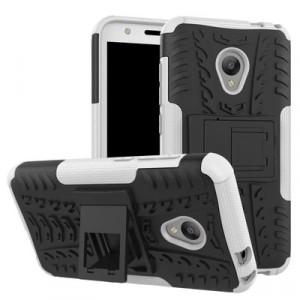 Двухкомпонентный силиконовый матовый непрозрачный чехол с нескользящими гранями, поликарбонатными бампером и крышкой и встроенной ножкой-подставкой для Alcatel U5 Белый