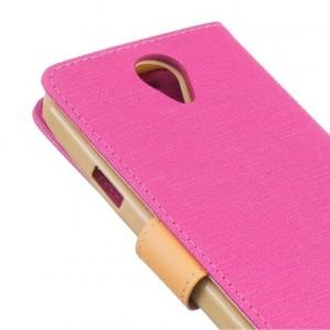 Чехол портмоне подставка на силиконовой основе с тканевым покрытием на магнитной защелке для Doogee X6