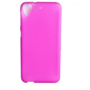 Силиконовый матовый полупрозрачный чехол для HTC Desire 650  Розовый