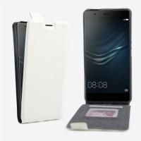 Чехол вертикальная книжка на силиконовой основе с отсеком для карт на магнитной защелке для Huawei P9 Plus Белый