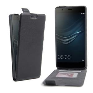 Чехол вертикальная книжка на силиконовой основе с отсеком для карт на магнитной защелке для Huawei P9 Plus Черный
