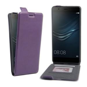 Чехол вертикальная книжка на силиконовой основе с отсеком для карт на магнитной защелке для Huawei P9 Plus Фиолетовый