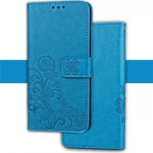 Винтажный чехол портмоне подставка текстура Цветы на силиконовой основе на магнитной защелке для ASUS ZenFone AR Голубой