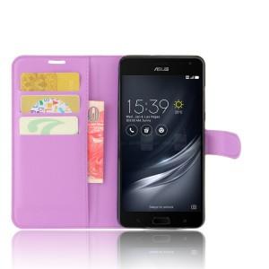 Чехол портмоне подставка на силиконовой основе на магнитной защелке для ASUS ZenFone AR  Фиолетовый