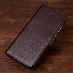 Кожаный чехол портмоне подставка (премиум нат. кожа) с крепежной застежкой для ASUS ZenFone AR Коричневый