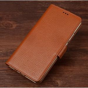 Кожаный чехол портмоне подставка (премиум нат. кожа) с крепежной застежкой для ASUS ZenFone AR Бежевый