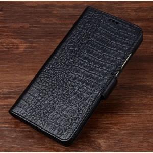 Кожаный чехол портмоне подставка (премиум нат. кожа крокодила) с крепежной застежкой для ASUS ZenFone AR Черный