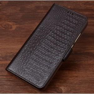 Кожаный чехол портмоне подставка (премиум нат. кожа крокодила) с крепежной застежкой для ASUS ZenFone AR Коричневый