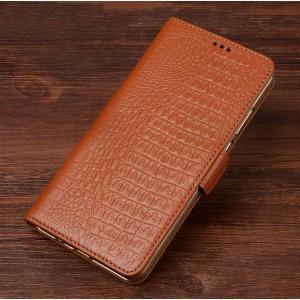 Кожаный чехол портмоне подставка (премиум нат. кожа крокодила) с крепежной застежкой для ASUS ZenFone AR Бежевый