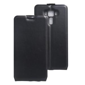 Чехол вертикальная книжка на силиконовой основе с отсеком для карт на магнитной защелке для Asus ZenFone 3 Laser Черный