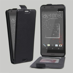 Чехол вертикальная книжка на силиконовой основе с отсеком для карт на магнитной защелке для HTC Desire 530/630 Черный