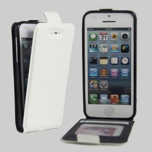 Чехол вертикальная книжка на силиконовой основе с отсеком для карт на магнитной защелке для Iphone 5c Белый
