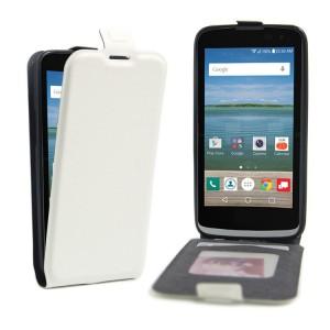 Чехол вертикальная книжка на силиконовой основе с отсеком для карт на магнитной защелке для LG K4 Белый