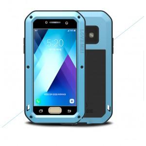 Эксклюзивный многомодульный ультрапротекторный пылевлагозащищенный ударостойкий нескользящий чехол алюминиево-цинковый сплав/силиконовый полимер с закаленным защитным стеклом для Samsung Galaxy A5 (2017)
