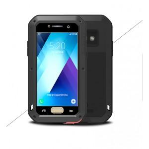 Эксклюзивный многомодульный ультрапротекторный пылевлагозащищенный ударостойкий нескользящий чехол алюминиево-цинковый сплав/силиконовый полимер с закаленным защитным стеклом с кожаной съемной крышкой для Samsung Galaxy A5 (2017)