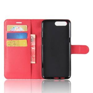 Чехол портмоне подставка на силиконовой основе с отсеком для карт на магнитной защелке для Asus ZenFone 4 Max  Красный