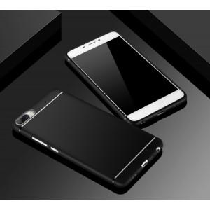 Силиконовый матовый непрозрачный чехол с текстурным покрытием Металлик для Asus ZenFone 4 Max Черный