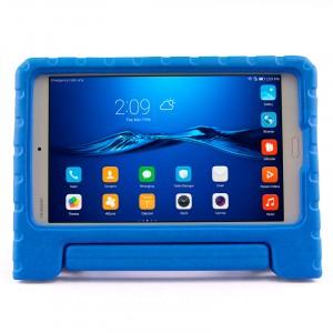 Ударостойкий детский силиконовый матовый гиппоаллергенный непрозрачный чехол с встроенной ножкой-подставкой для Huawei MediaPad M3 Lite 8 Синий