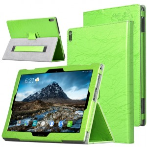 Чехол книжка подставка текстура Узоры с рамочной защитой экрана и поддержкой кисти для Lenovo Tab 4 10 Plus  Зеленый