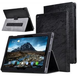 Чехол книжка подставка текстура Узоры с рамочной защитой экрана и поддержкой кисти для Lenovo Tab 4 10 Plus  Черный
