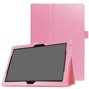Чехол книжка подставка с рамочной защитой экрана и крепежом для стилуса для Lenovo Tab 4 10/10 Plus Розовый