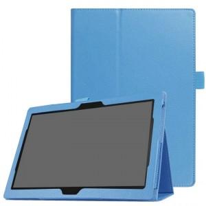 Чехол книжка подставка с рамочной защитой экрана и крепежом для стилуса для Lenovo Tab 4 10/10 Plus Голубой