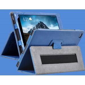 Чехол книжка подставка текстура Узоры с рамочной защитой экрана и поддержкой кисти для Lenovo Tab 4 8 Синий