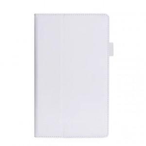 Чехол книжка подставка с рамочной защитой экрана, крепежом для стилуса, отсеком для карт и поддержкой кисти для Lenovo Tab 4 8 Белый