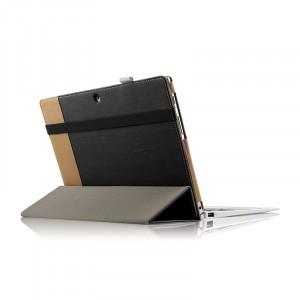Чехол книжка подставка с рамочной защитой экрана, крепежом для стилуса, поддержкой кисти и тканевым покрытием для Lenovo Miix 320  Черный