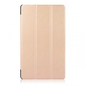 Сегментарный чехол книжка подставка на непрозрачной поликарбонатной основе для Lenovo Tab 4 8 Plus  Бежевый