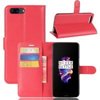 Чехол портмоне подставка на силиконовой основе с отсеком для карт на магнитной защелке для OnePlus 5  Красный