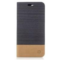 Чехол портмоне подставка на силиконовой основе с отсеком для карт и тканевым покрытием для OnePlus 5  Черный