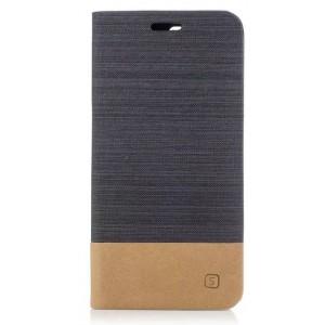 Чехол портмоне подставка на силиконовой основе с отсеком для карт и тканевым покрытием для OnePlus 5