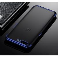 Силиконовый глянцевый полупрозрачный чехол для OnePlus 5 Синий