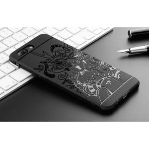 Силиконовый матовый непрозрачный чехол с текстурным покрытием Дракон для OnePlus 5