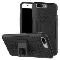 Двухкомпонентный силиконовый матовый непрозрачный чехол с поликарбонатными бампером и крышкой и встроенной ножкой-подставкой для OnePlus 5  Черный