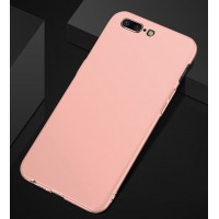 Пластиковый непрозрачный матовый чехол с допзащитой торцев для OnePlus 5  Розовый