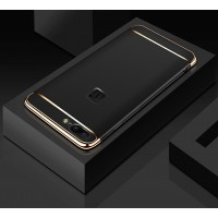 Пластиковый непрозрачный матовый чехол сборного типа с улучшенной защитой элементов корпуса для OnePlus 5  Черный