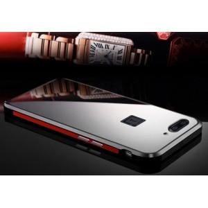 Двухкомпонентный чехол c металлическим бампером с поликарбонатной накладкой и зеркальным покрытием для OnePlus 5
